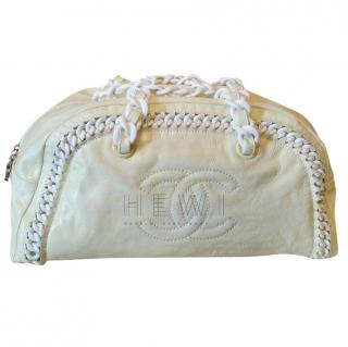 Chanel yellow patent leather & white chain bowling bag
