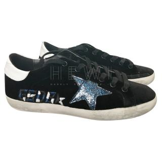 Golden Goose Superstar black suede trainers
