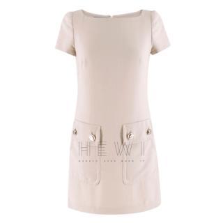 Prada Square-Neck Beige Shift Dress