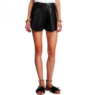 Balenciaga Leather & Linen Pleated Shorts