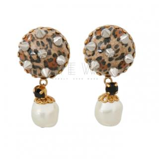 Dolce & Gabbana leopard-stud clip-on earrings