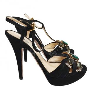 Prada Crystal Embellished T-Bar Sandals