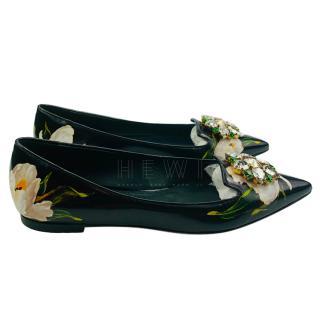 Dolce & Gabbana Crystal Embellished Ballerina Flats