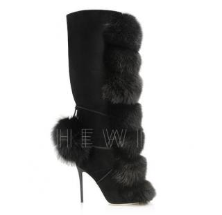 Jimmy Choo Black Deeta 110 Suede & Fox Fur Knee-high Boots