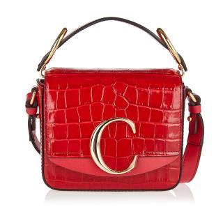 Chloe C Mini Shiny red croc-effect leather bag - Current Season