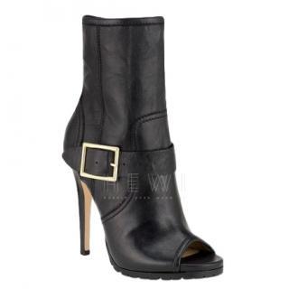 Jimmy Choo Deja peep-toe black leather ankle boots