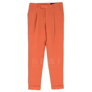Gucci Coral Pleated Crepe Trousers