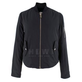 Beau Souci Fur-Lined Black Bomber Jacket