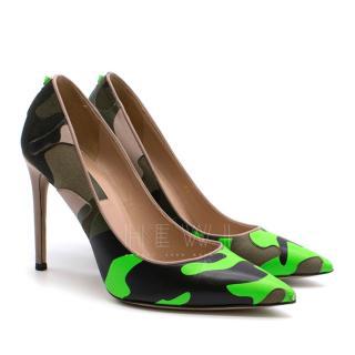 Valentino Rockstud Camouflage Neon Green Pumps