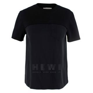 Chloe black satin-panel T-shirt