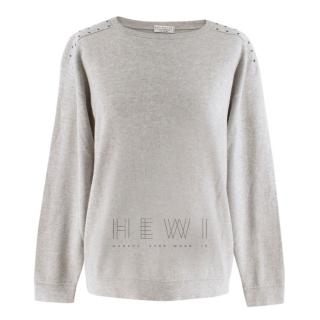 Brunello Cucinelli Studded-Shoulder Cashmere Sweater