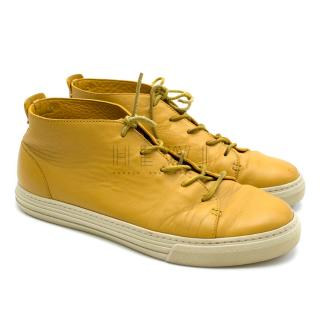 Gucci Yellow Leather Lace Up Shoes