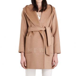 Max Mara Hooded Camel-Wool Wrap Coat