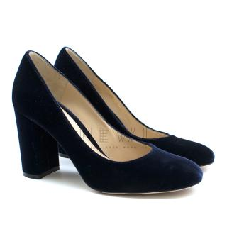 Gianvito Rossi Linda 85 Blue Velvet Pumps