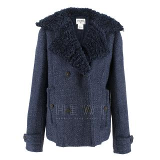 Chanel textured-lapel blue tweed jacket