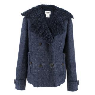 Chanel textured-lapel blue tweed jacket