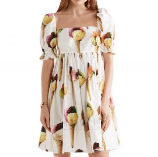 Dolce & Gabbana Ice Cream Print Cotton Poplin Mini Dress