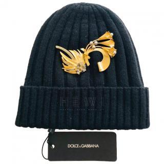 Dolce & Gabbana embellished black cashmere hat