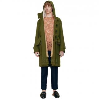 Gucci Men's Shearling-Lined Green Canvas Parka