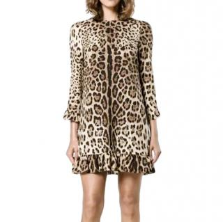 Dolce & Gabbana Leopard Print Ruffled Dress