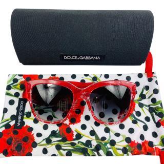 Dolce & Gabbana Red Cat-Eye Sunglasses