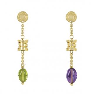 Bvlgari B.Zero1 Peridot & Amethyst 18k Gold Drop Earrings