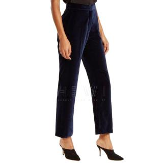 Stella McCartney high-rise navy velvet trousers