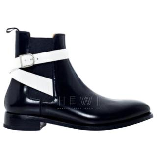 Balenciaga contrast-strap leather ankle boots