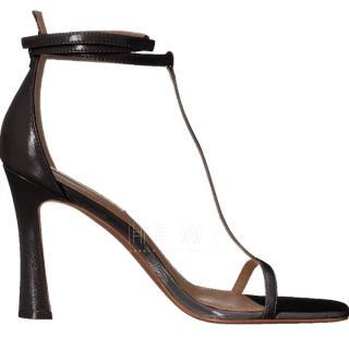 BCBG Max Azira black leather sandals