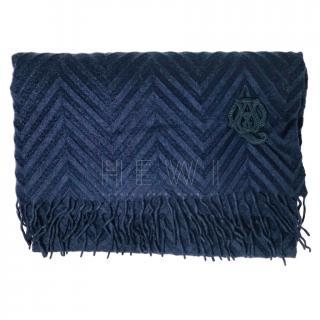 Alexander McQueen navy chevron cashmere scarf