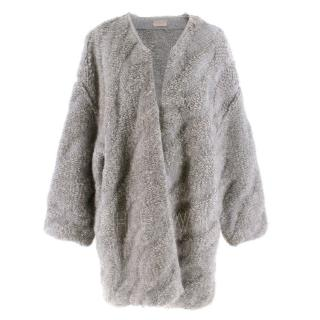 MRZ Grey Textured Angora  Wool-Blend Oversized Cardigan
