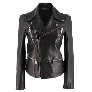 Gucci Bird Embellished-Back Leather Biker Jacket
