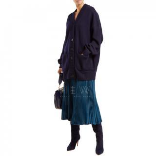 Tibi Navy Cashmere Oversized Cardigan