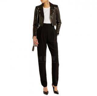 Saint Laurent black leather cropped jacket