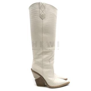 Fendi Cutwalk white crocodile-effect leather tall boots