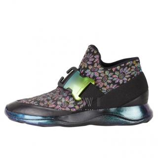 Christopher Kane leather trim floral high-top sneakers.
