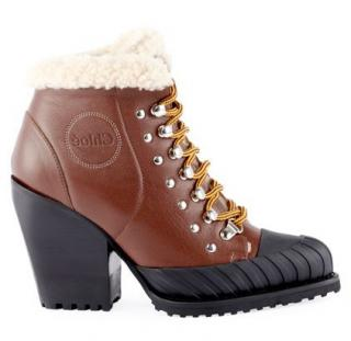 Chloe Rylee lace-up Fur-Trimmed Boots