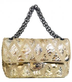 Chanel Limited Edition Gold Python Crochet Flap Bag
