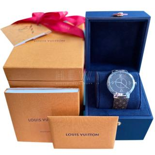 Louis Vuitton Unisex Tambour Monogram Macassar Watch