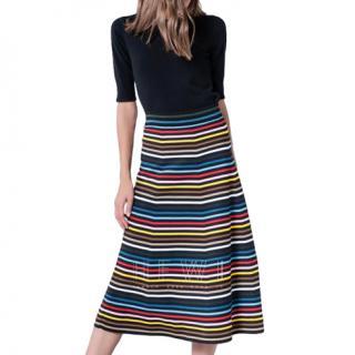 Sonia Rykiel Striped Knit Midi Skirt