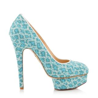 Charlotte Olympia Beaded Leopard Print Pumps