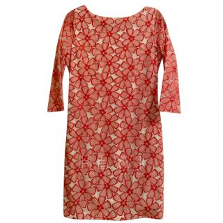 Diane Von Furstenberg Red & Cream Floral Applique Dress