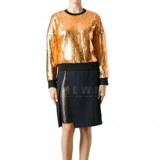 3.1 Philip Lim Crackled Metallic Cutaway Sweatshirt