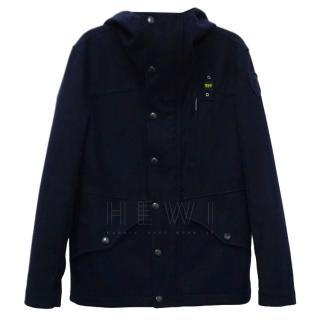 Blauer USA men's navy blue wool and gore tex waterproof hooded jacket