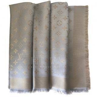 Louis Vuitton Greige Silk Blend Shine Shawl