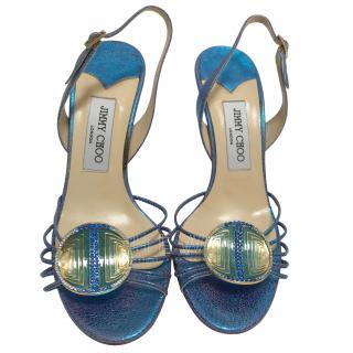 Jimmy Choo Blue Becca Slingback Sandals