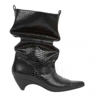 Stella McCartney Black Faux-python Slouchy Boots