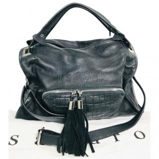 Sandro Black Leather Croc Embossed Tote Bag