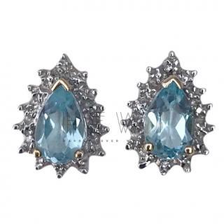 Bespoke White Gold Aquamarine & Diamond Earrings