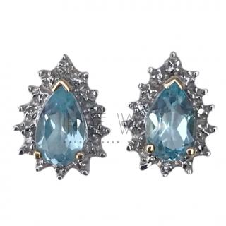 Bespoke White Gold Aquamarine & Diamond Earrings